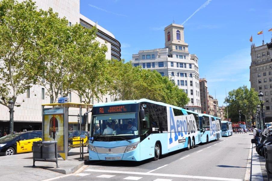 Aerobús en Plaça Catalunya