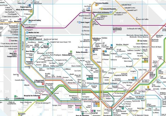 Mapa de la red de ferrocarriles en Barcelona