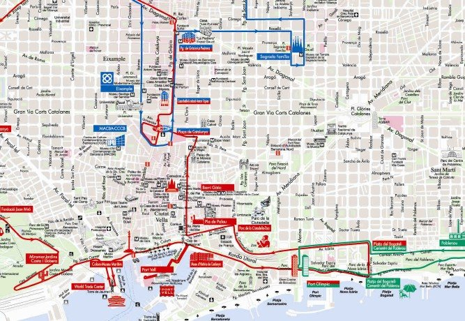 Plano del Bus Turístic de Barcelona