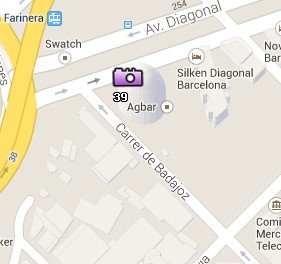 Situación de la Torre Agbar en el Mapa de Barcelona