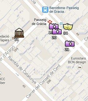 Situación de la Casa Amatller en el Mapa de Barcelona
