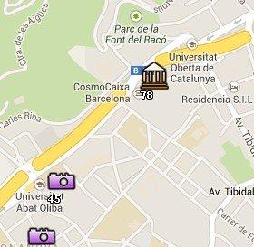 Situación de Cosmocaixa en el Mapa de Barcelona