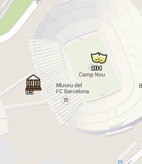 Situación del Camp Nou en el Mapa de Barcelona
