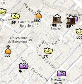 Situación de Sant Felip Neri en el Mapa de Barcelona