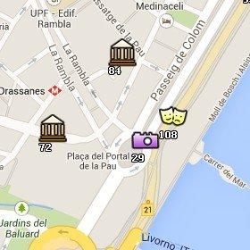 Situación del Monumento a Colón en el Mapa de Barcelona