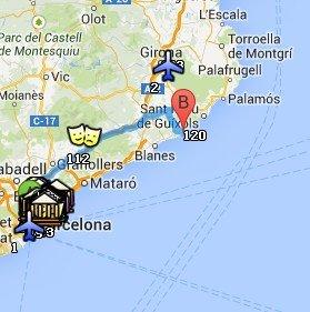 Situación de la Costa Brava respecto a Barcelona