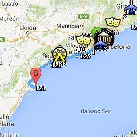 Situación del Delta de l'Ebre respecto a Barcelona