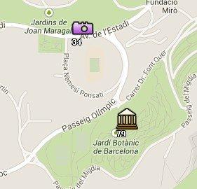 Situación del Estadio Olímpico en el Mapa de Barcelona