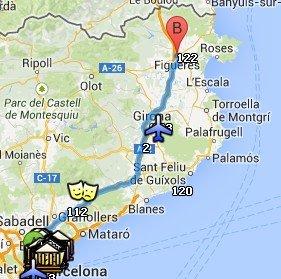 Situación de Figueres respecto a Barcelona
