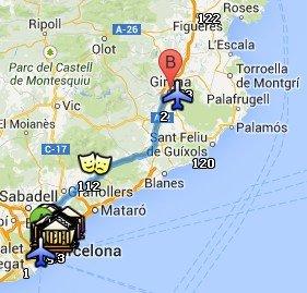 Situación de Girona respecto a Barcelona