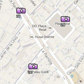 Situación de la Plaça Reial en el Mapa de Barcelona