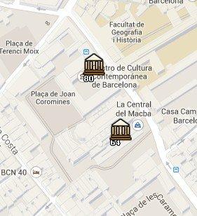 Situación del CCCB en el Mapa de Barcelona