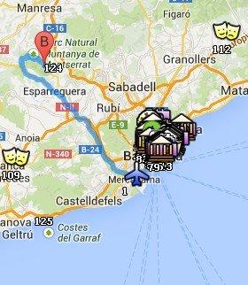 Situación de Montserrat respecto a Barcelona