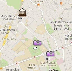 Situación del Palacio de Pedralbes en el Mapa de Barcelona