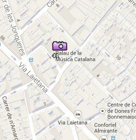 Situación del Palau de la Música Catalana en el Mapa de Barcelona