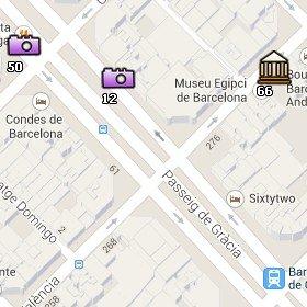 Situación del Museo Egipcio en el Mapa de Barcelona
