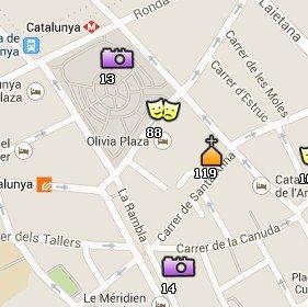 Situación de la Iglesia de Santa Anna en el Mapa de Barcelona