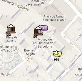 Situación de la Plaça del Rei en el Mapa de Barcelona