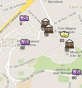 Situación del Poble Espanyol en el Mapa de Barcelona