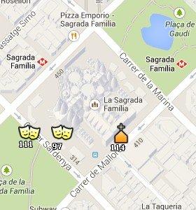 Situación de la Sagrada Familia en el Mapa de Barcelona