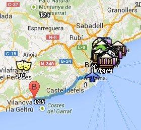 Situación de Sitges respecto a Barcelona