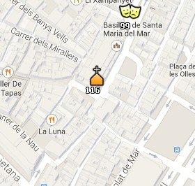 Situación de Santa Maria del Mar en el Mapa de Barcelona
