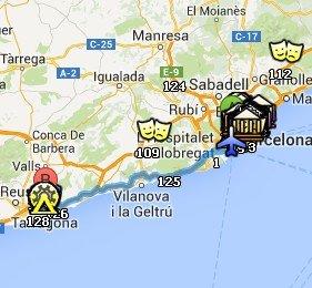 Situación de Tarragona respecto a Barcelona