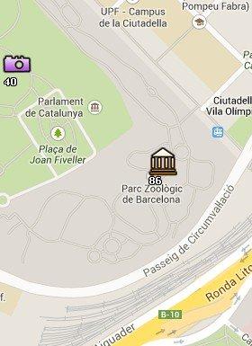 Situación del Zoo en el Mapa de Barcelona