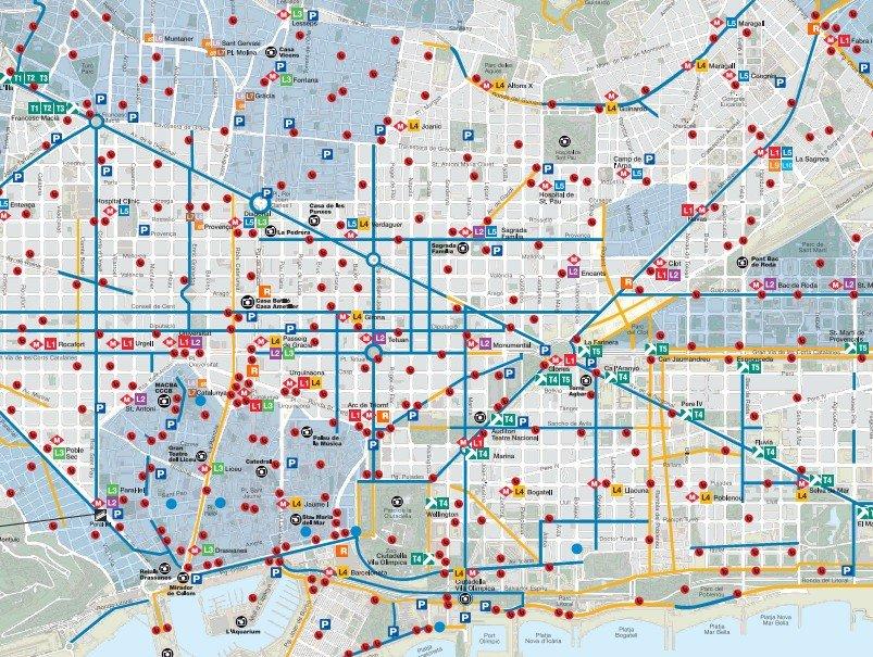 Plano del Carril-bici en Barcelona