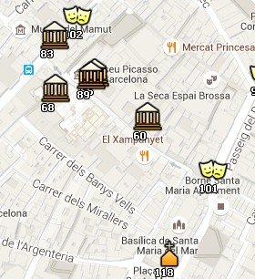 Situación de la Fundación Gaspar en el Mapa de Barcelona